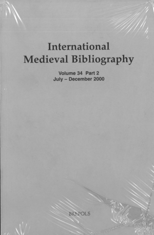 International Medieval Bibliography vol.34 part 1-2