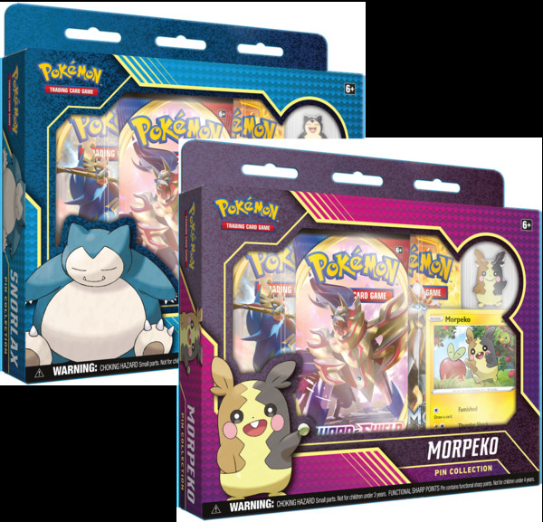 Gra Pokemon TCG: Sword & Shield - Rebel Clash Snorlax and Morpeko Pin Collection (Display 6 szt.)